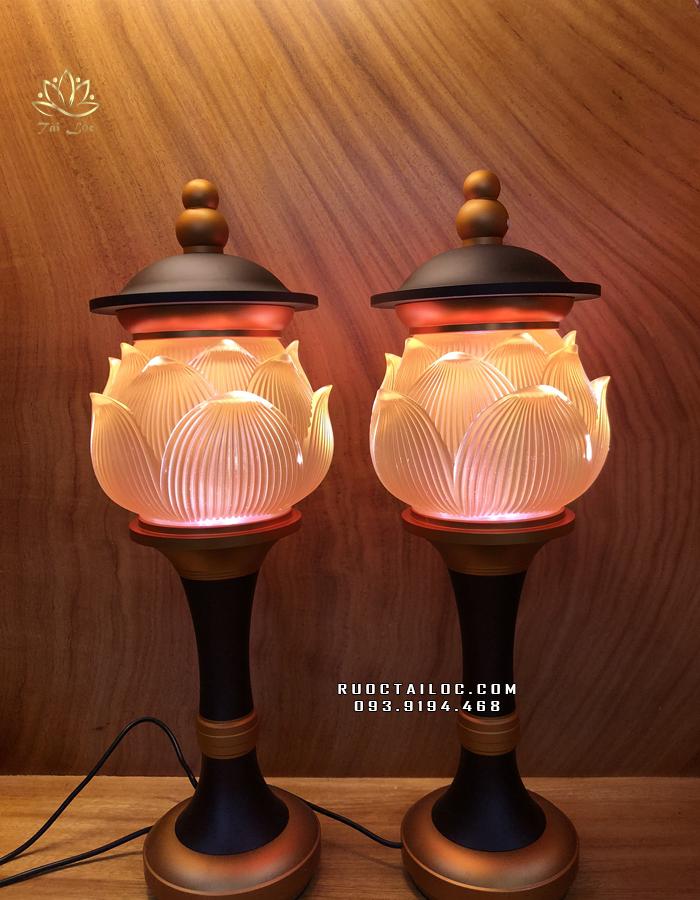 đèn thờ phật lưu ly đổi màu thân hợp kim