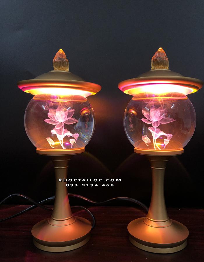 đèn thờ pha lê thân đồng đẹp