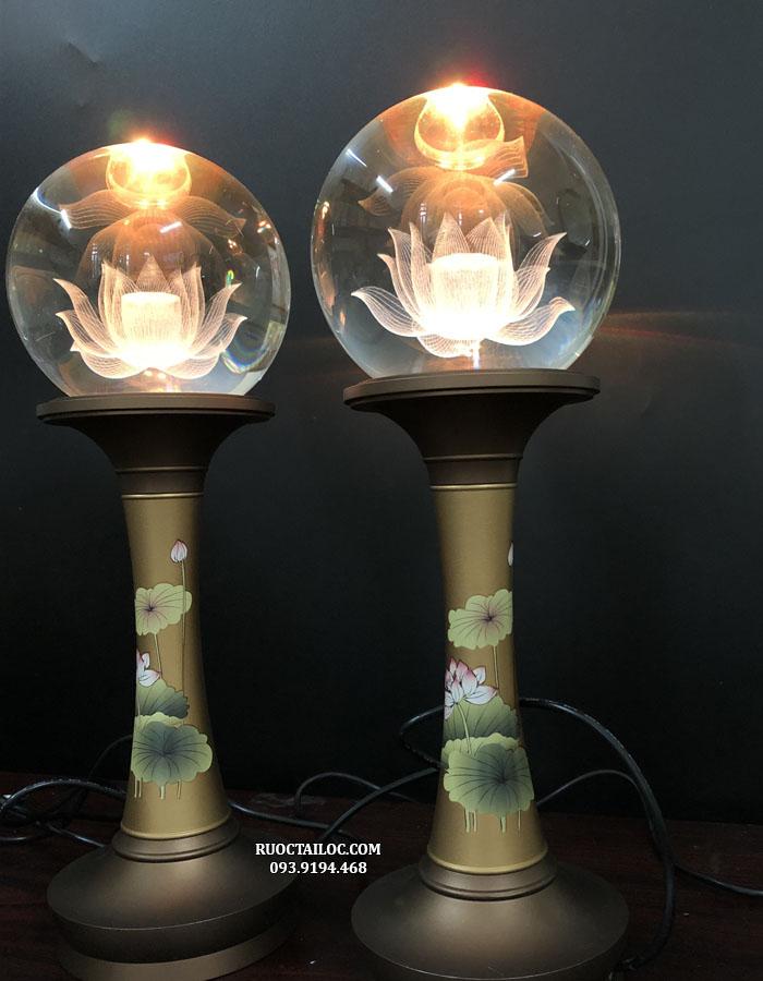 đèn thờ phật cầu tròn thân đồng đẹp