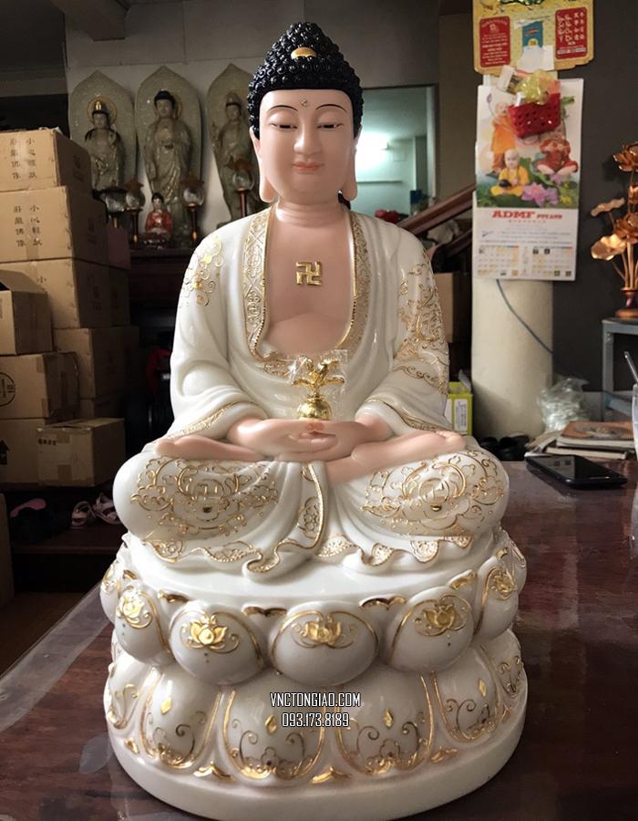 tượng phật dược sư bằng bột đá trắng đế sen viền vàng đẹp