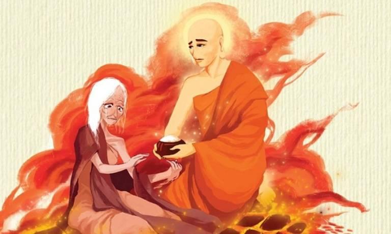 Mục Kiền Liên Bồ tát được nhiều người biết đến bởi tích Mục Liên Thanh Đề, xuống địa ngục cứu mẹ