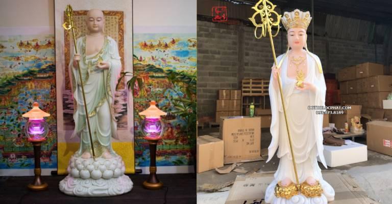 Sự khác nhau về hình tướng của hai vị bồ tát Địa Tạng Vương Bồ Tát đầu đội mũ thất Phật, mặc áo cà sa, tay phải cầm tích trượng, tay trái cầm viên ngọc Như Ý