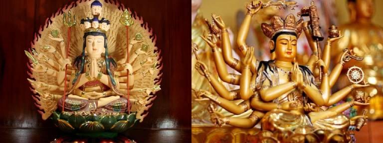 Thiên Thủ Thiên Nhãn và Chuẩn Đề Bồ tát là hai tôn tượng rất dễ bị nhầm lẫn