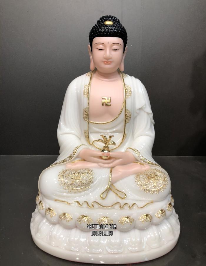tượng phật dược sư bằng bột đá trắng đế to đẹp