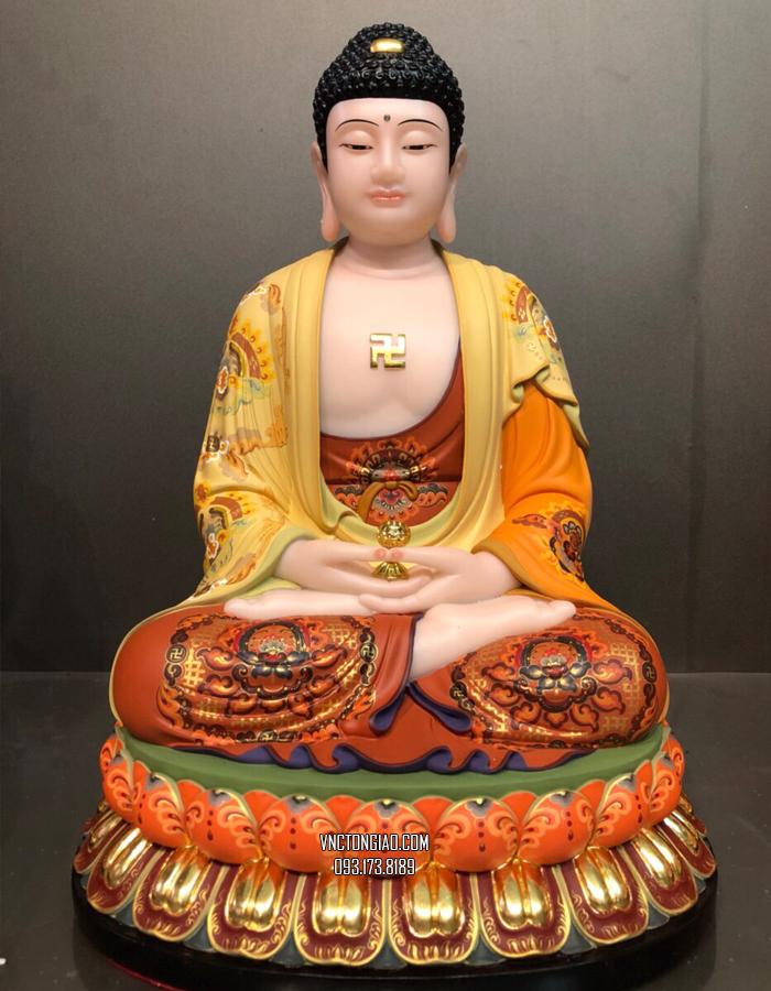 tượng phật dược sư bằng bột đá khoáng vẽ gấm cao cấp