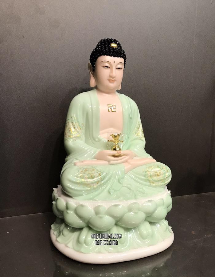 tượng phật dược sư bằng bột đá xanh ngọc vẽ hoa 3d