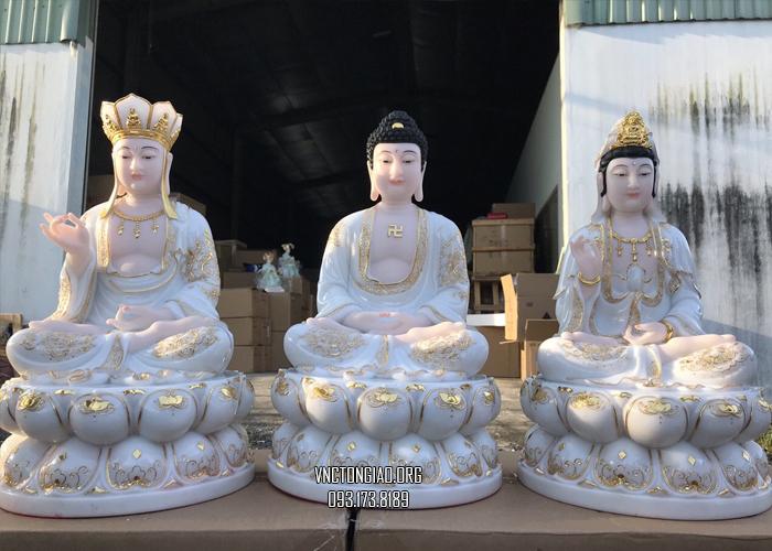 bộ tượng ta bà tam thánh bằng bột đá trắng viền vàng đế sen đẹp