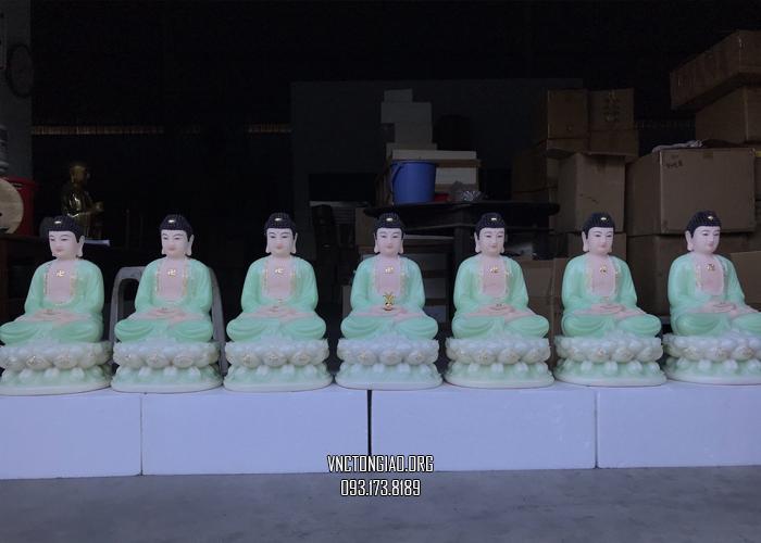 tượng phật dược sư bằng bột đá xanh ngọc đẹp