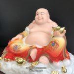 Tượng Phật Di Lặc vẽ gấm ngự mây - thờ tượng Phật Di Lặc tại gia