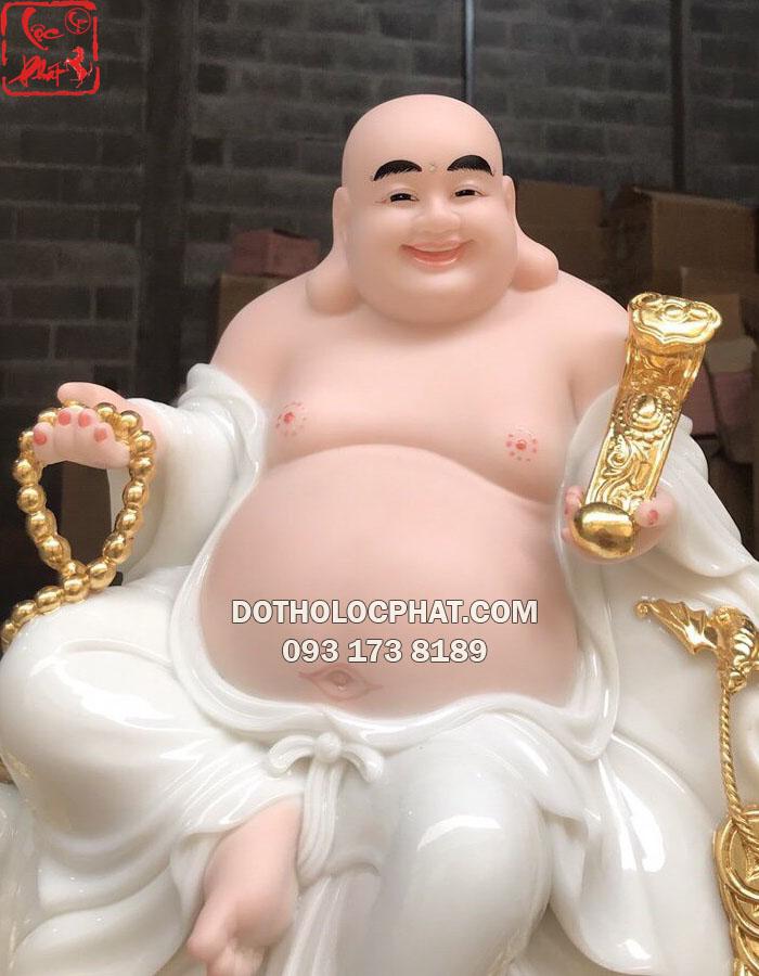 Tượng Phật Di Lặc Bồ tát ngự mây đẹp bằng đá trắng