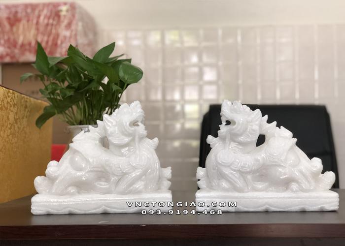 Cặp Tỳ Hưu bằng bột đá trắng cao cấp tự nhiên đẹp
