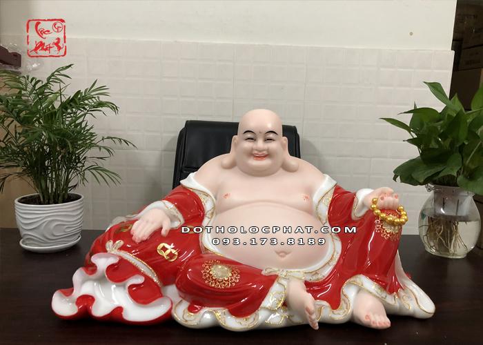 Tượng Phật Di Lặc đỏ viền vàng 26 inch - ngang 65cm