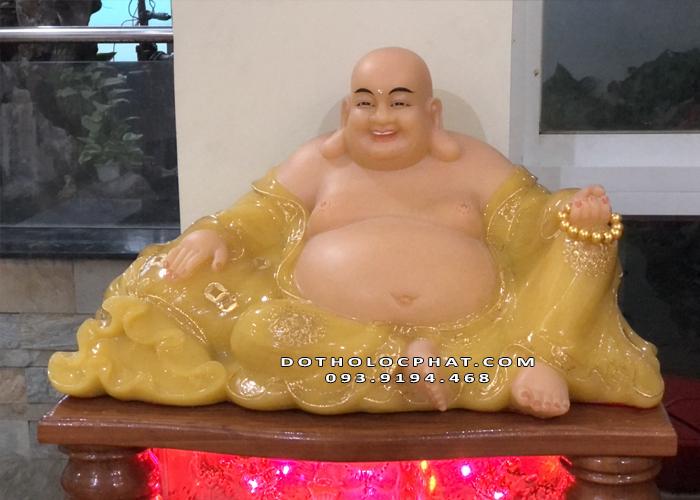 Tượng Phật Di Lặc thạch anh ngang 65cm siêu đẹp