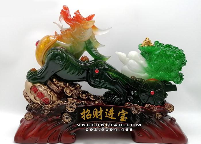 Mẫu tượng Tỳ Hưu xanh ngọc kéo bắp cải được rất nhiều quý khách hàng yêu thích