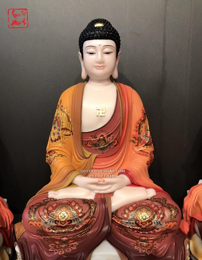 Tượng Phật A Di Đà trong bộ Tây Phương Tam Thánh vẽ gấm ngồi non nước TPTT-035