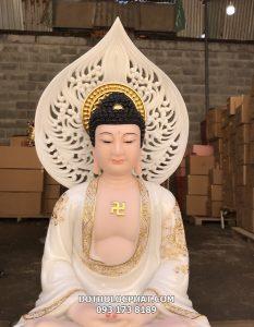 Tượng Phật A Di Đà trong bộ Tây Phương Tam Thánh ngồi viền vàng có hào quang TPTT-010