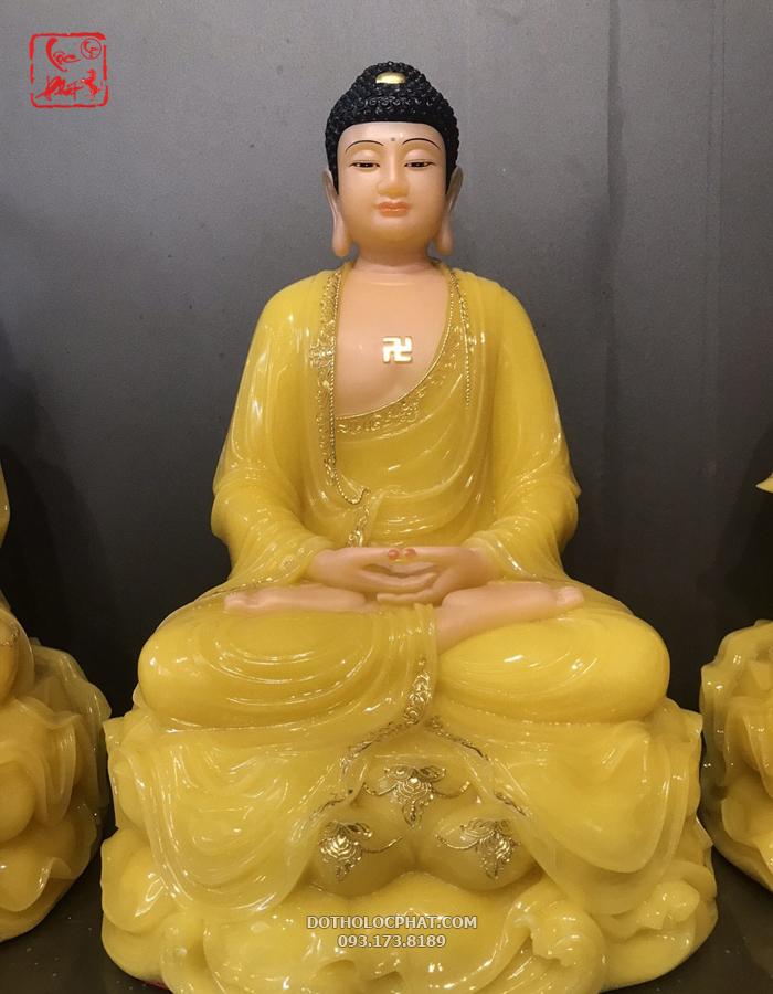 Tượng Đức Phật trong bộ Tây Phương Tam Thánh thạch anh ngồi đế non nước cao 40cm
