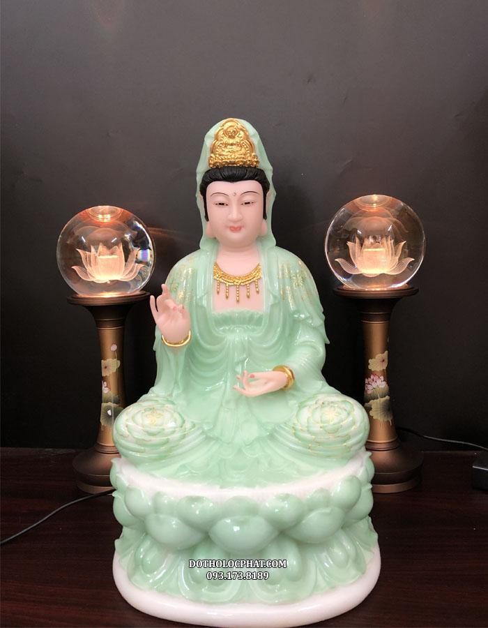 Tượng Quan Âm Bồ Tát ngồi xanh ngọc vẽ hoa 3D